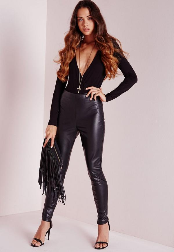Faux Leather Ankle Zip Trousers Black