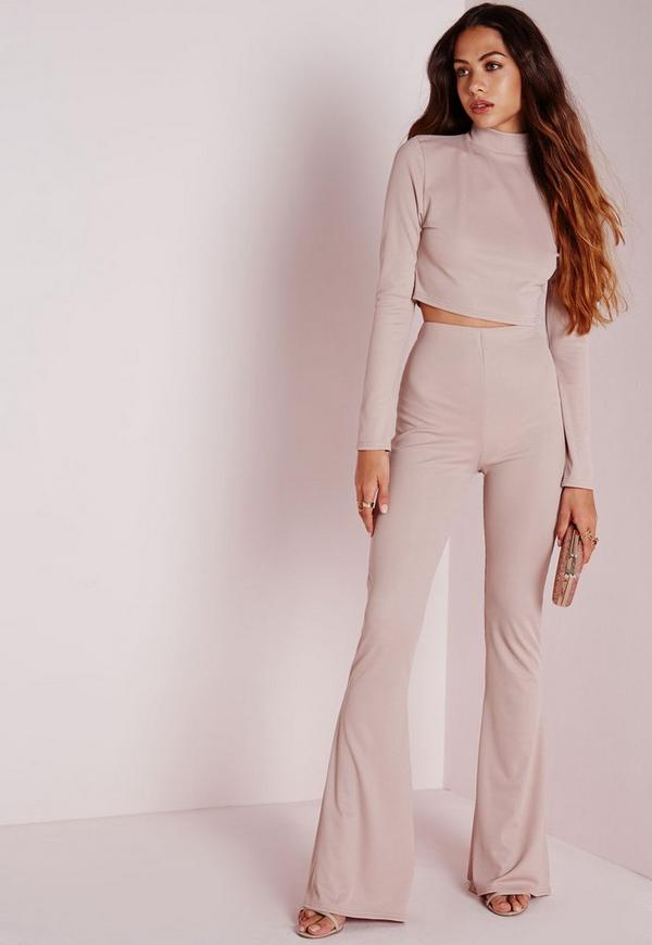 Ribbed Wide Leg Trousers Nude