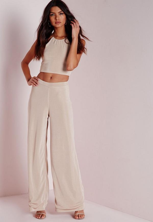 Wide Leg Ribbed Trousers Taupe