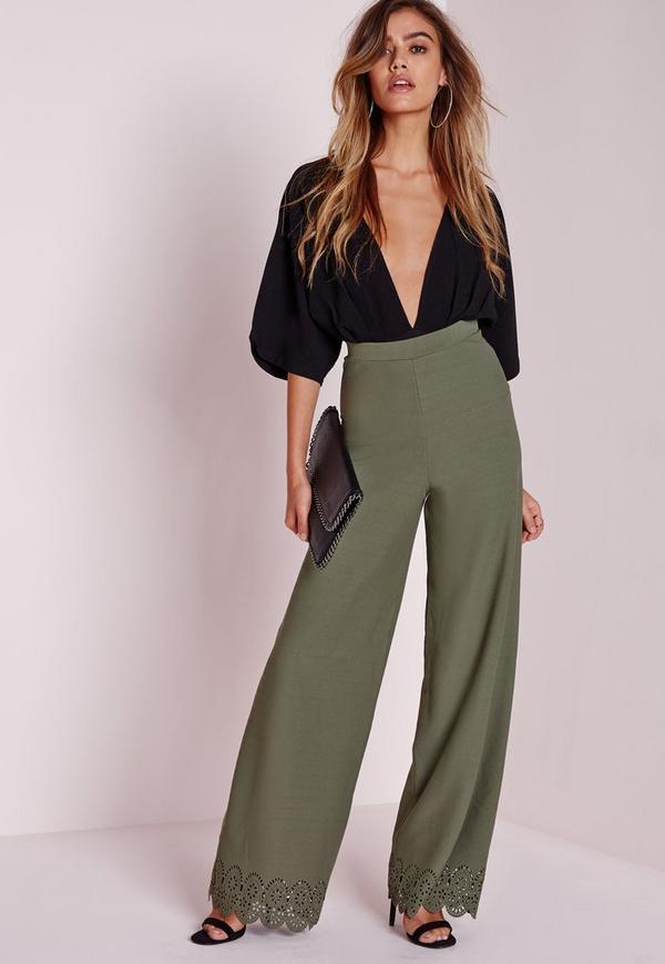 Laser Cut Wide Leg Trousers Khaki