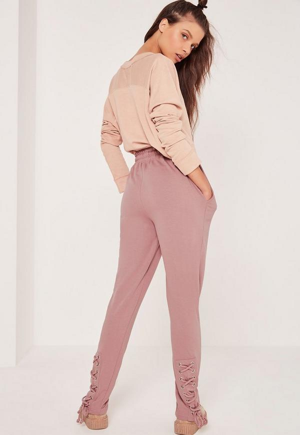 Lace Up Back Joggers Pink