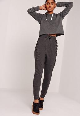 Lace Up Eyelet Size Joggers Charcoal