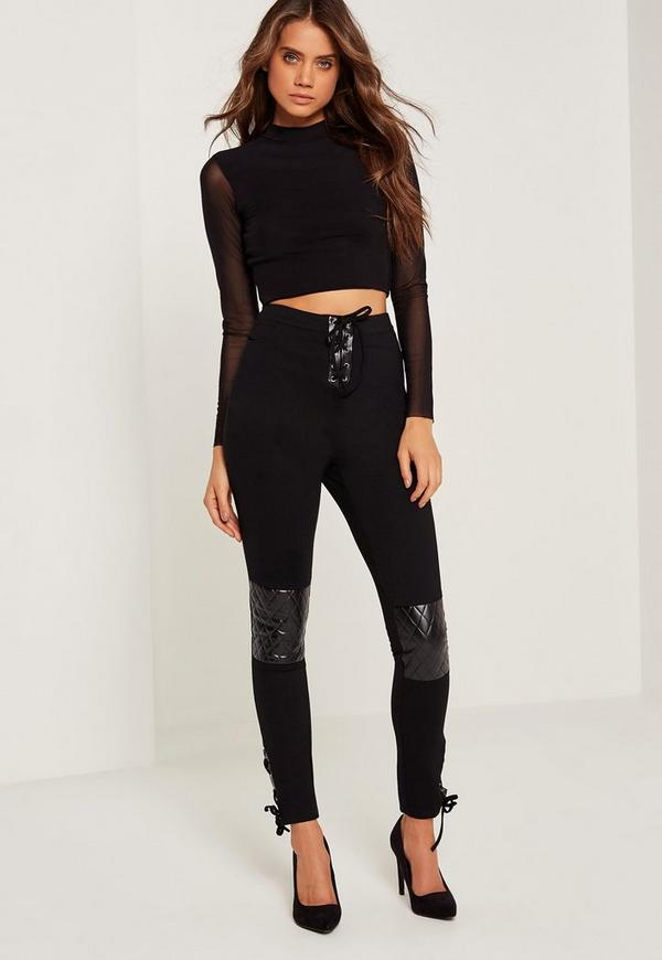 Faux Leather Quilted Knee Lace Up Leggings Black