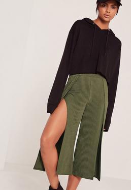 Jupe-culotte vert kaki côtelée fendue