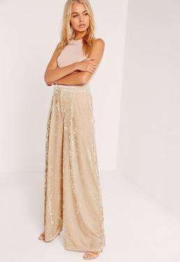 Velvet Wide Leg Trousers Cream