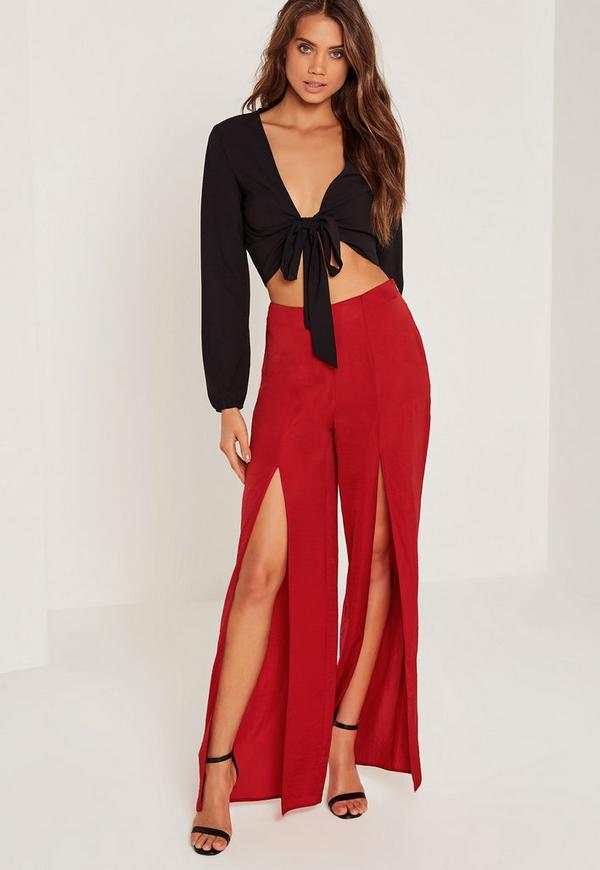Satin Split Front Wide Leg Trousers Red