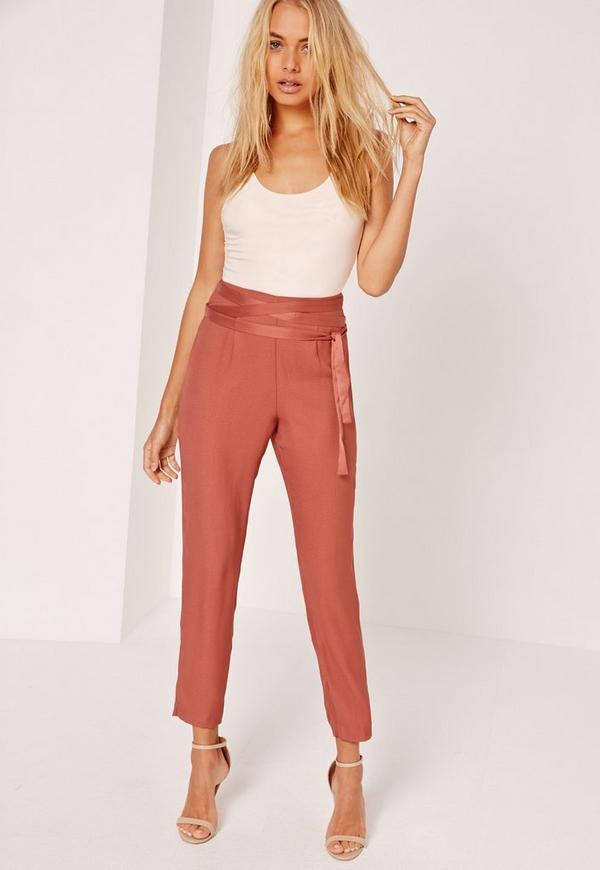 Satin Tie Waist Cigarette Trousers Pink