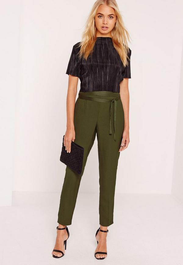 Satin Tie Waist Cigarette Trousers Khaki