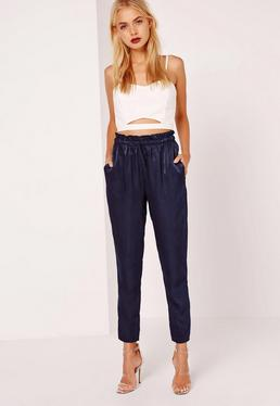Paper Bag Waist Satin Tapered Trouser Navy