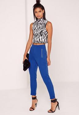 Pantalon bleu électrique poches à fermeture éclair