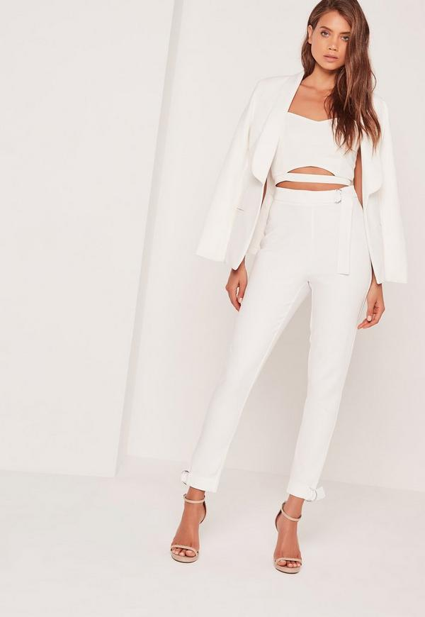 D Ring Hem And Waist Cigarette Trousers White