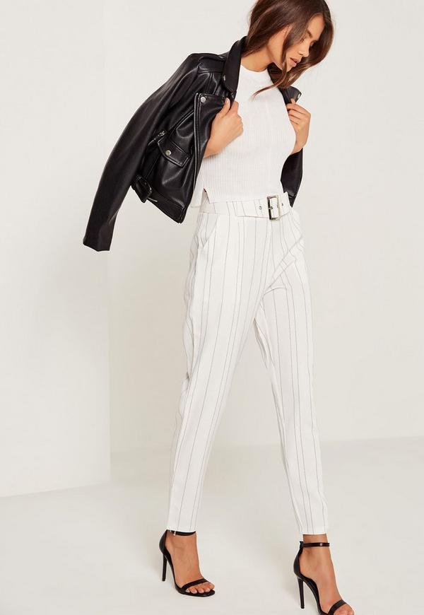 Pinstripe Cigarette Trousers White