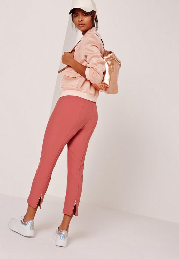 Cropped Cigarette Trouser With Zip Back Detail Pink