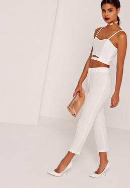 Cropped Cigarette Pants With Zip Back Detail White