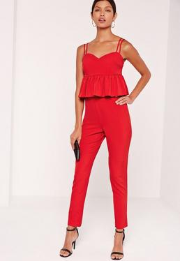 Crepe Cigarette Trousers Red