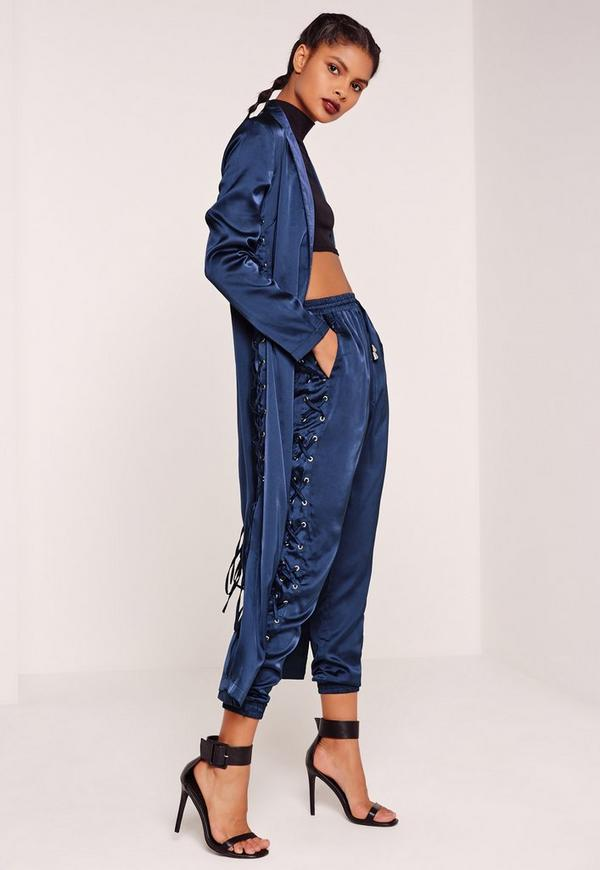 Satin Lace Up Side Jogger Blue