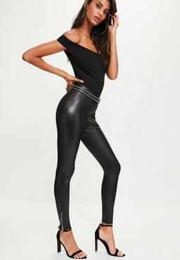 Black Zip Ankle Faux Leather Leggings