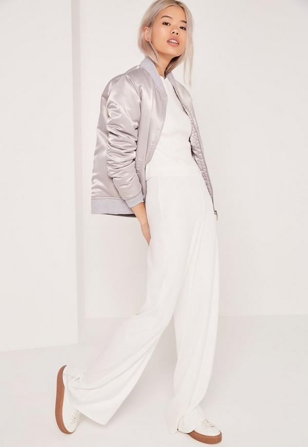 Bandage Wide Leg Trousers White