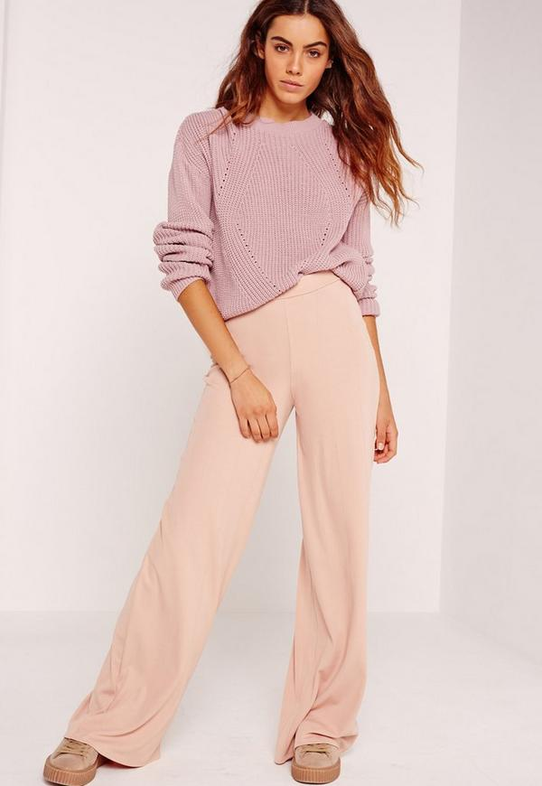 Bandage Wide Leg Trousers Nude
