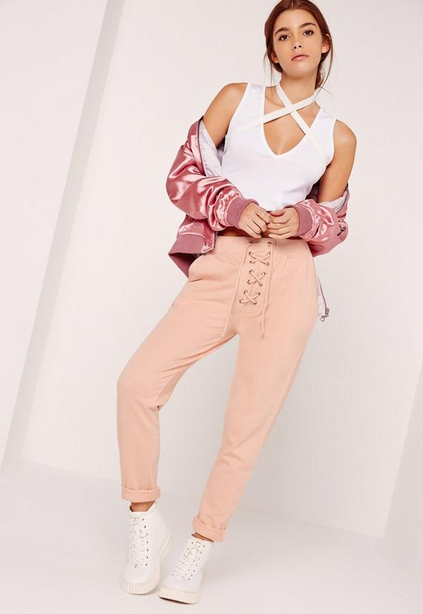 Lace Up Front Joggers Nude