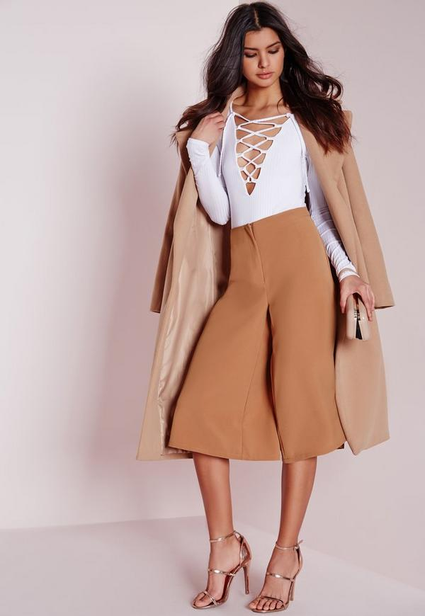 Premium Pleated Culottes Camel