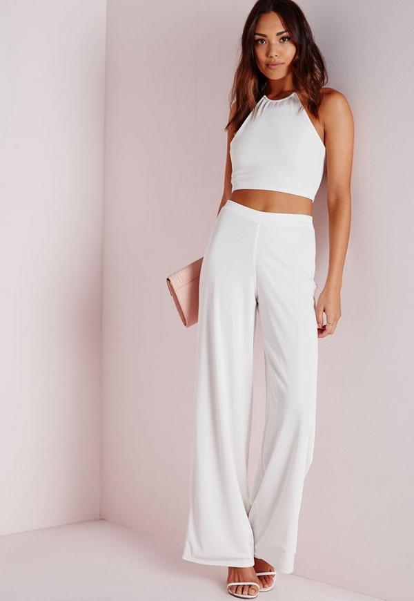 Wide Leg Ribbed Trousers White