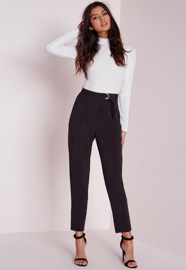 Wrap Detail Tailored Trousers Black