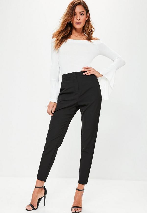 Black Crepe Cigarette Trousers