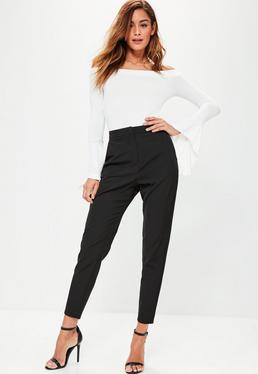 Crepe Cigarette Trousers Black