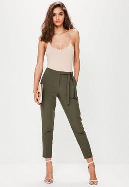Khaki Tie Belt Crepe High Waisted Trousers