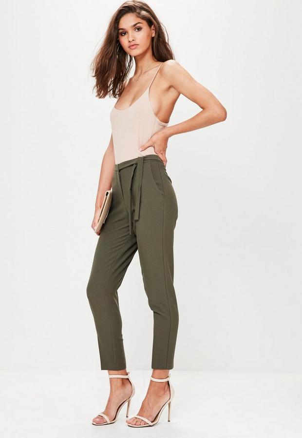 Missguided - Belt Crepe High Waist Trousers Khaki - 2