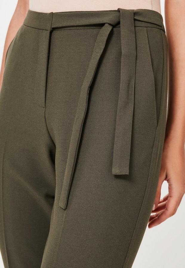 Missguided - Belt Crepe High Waist Trousers Khaki - 3