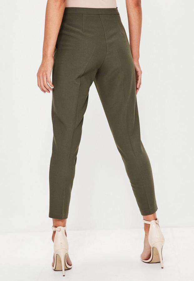 Missguided - Belt Crepe High Waist Trousers Khaki - 4