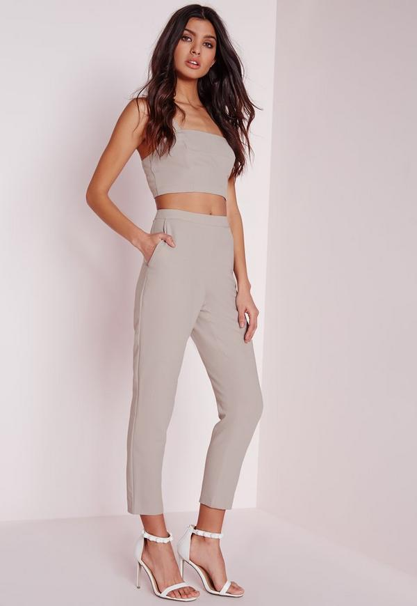 Skinny Crepe Trousers Silver