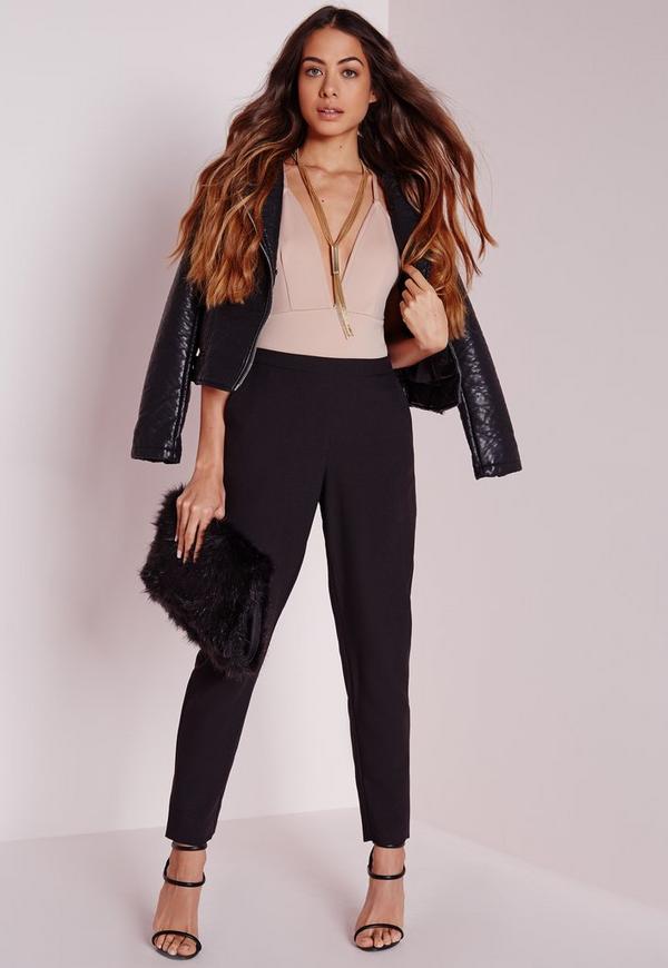 Skinny Crepe Trousers Black