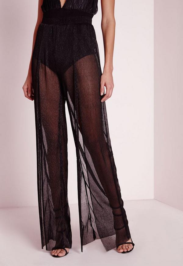 Split Front Pleated Wide Leg Pants Black Missguided