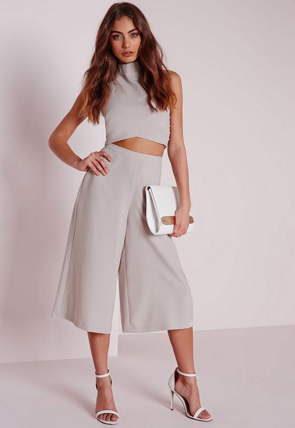 Crepe High Waisted Tailored Culottes Silver