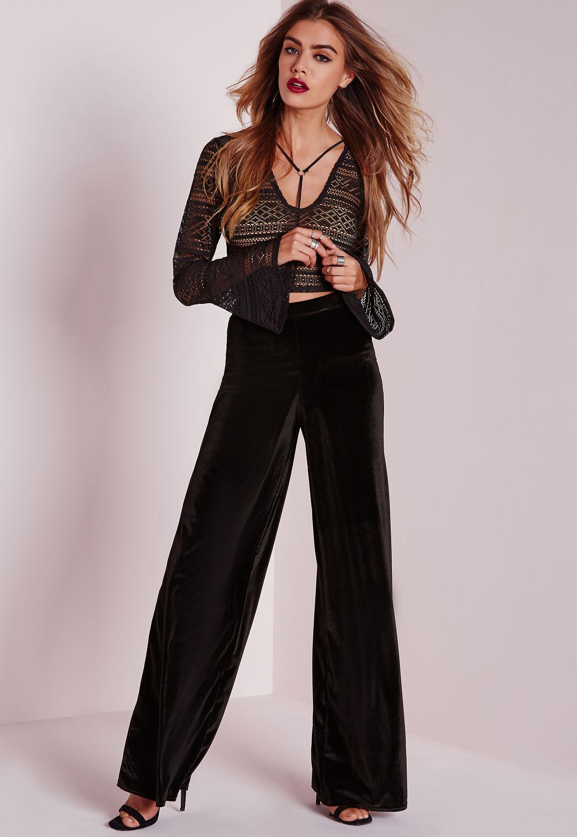 Velvet Wide Leg Pants Black - Pants - Missguided