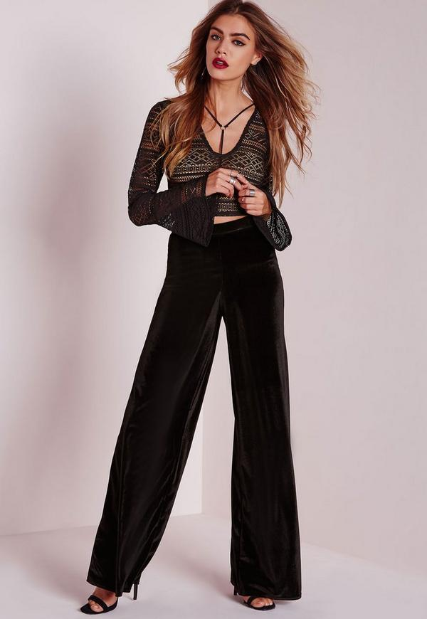 Velvet Wide Leg Trousers Black