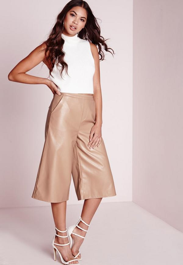 Faux Leather Culottes Camel
