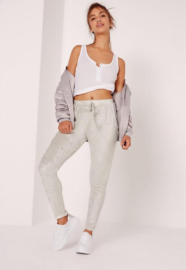 Velour Joggers Silver
