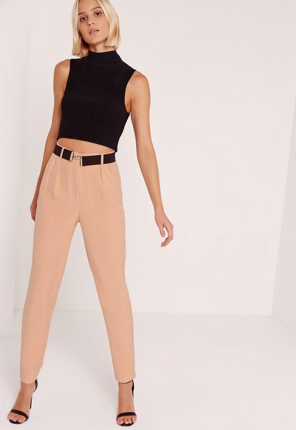 Contrast Clasp Belt Cigarette Trousers Pink