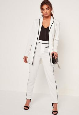 Pantalon cigarette blanc bordures contrastantes