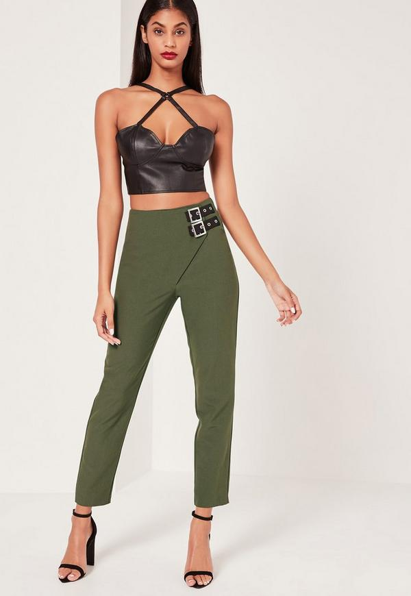 Buckle Detail Wrap Over Trousers Khaki