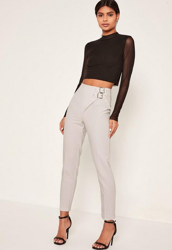 Grey Buckle Detail Wrap Over Trousers