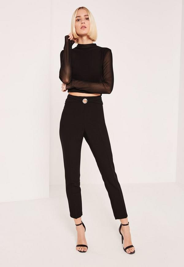 Black Harness Ring Detail Cut Out Cigarette Trousers