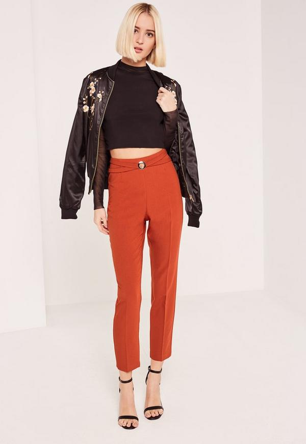 Red Harness Ring Detail Cut Out Cigarette Trousers