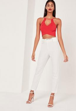 Eyelet Lace Up Hem Cigarette Trousers White