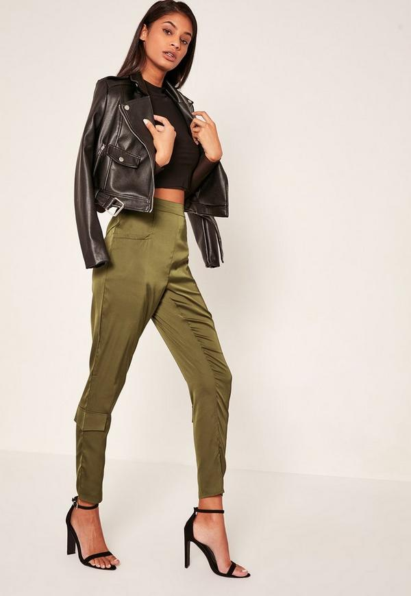 Khaki Side Pocket Satin Cigarette Trousers