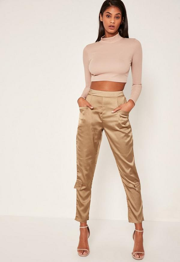 Bronze Side Pocket Satin Cigarette Trousers